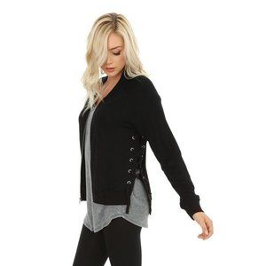 Bobi Black Lace Up Zip Up Jacket Large